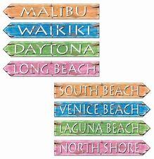 "4 x 24"" BEACH PARTY STREET SIGNS PLACE NAMES DECOR HAWAIIAN TROPICAL THEME"