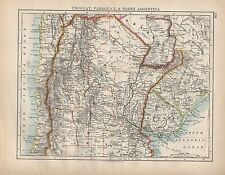 1898 VICTORIAN MAP ~ SOUTH AMERICA URUGUAY PARAGUAY & NORTH ARGENTINA