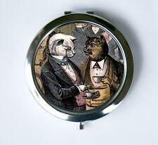 Cat Compact Mirror Pocket Mirror drinking tea regal elegant anthropomorphic