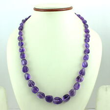 NECKLACE NATURAL PURPLE AMETHYST GEMSTONE BEADED 925 SOLID STERLING SILVER 44 GM