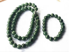 "10MM Certified Untreated Green Icy Jadeite Jade Necklace + Bracelet 20 ""7.5"""