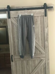 BOYS YOUTH ADIDAS XLARGE 18 20 BASKETBALL LEGGINGS PANTS SWEATPANTS GRAY