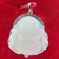 925 Sterling Silver Natural White Jade Nephrite Buddha Pendant 32mm H