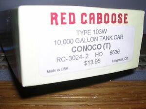 Red Caboose #RC-3024-2  Conoco 10,000 Gallon Tank Car #6536 KIT H.O.1/87