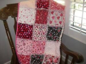 Handmade ~Rag Quilt ~ Just Hearts ~