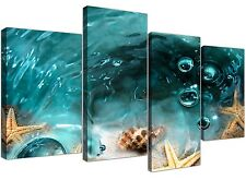 Canvas Art of Seaside Starfish in Teal for your Bathroom 4253