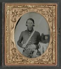 Photo Civil War Confederate Militia Virginia Infantry Regiment With Hat & Sword