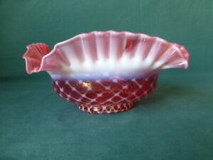 Antique Art Glass Cranberry Opalescent Lattice Pattern Ruffled Rim Square Bowl