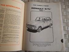 REVUE TECHNIQUE RENAULT 6 TL - 1100 CM3
