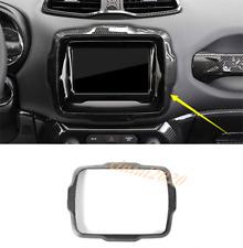 Carbon Fiber Inner GPS Navigation Panel Cover Trim For Jeep Renegade 2018 2019