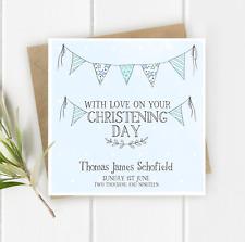 PERSONALISED Boys Bunting CHRISTENING Card - BAPTISM-CHRISTENING-NAMING DAY