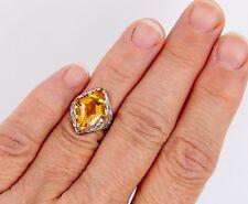 Authentic Antique Art Deco Filigree 14k Fantasy Cut Citrine VS2 G Diamond Ring