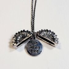 """Sunflower Pendant Necklace """"Keep F*cking Going"""" Silver Tone Chain Jewelry"""