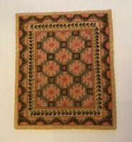 "Dollhouse miniature vintage Art Nouveau bunka rug 7 1/8"" x 8 3/4"" by Linda Raih,"