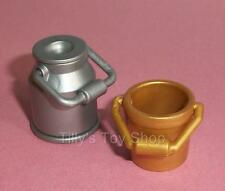 Playmobil            Gold Bucket  and Milk Churn with Lid for Farm sets -    NEW