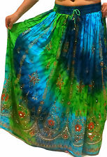 Femmes indien parti boho gypsy hippie long sequin jupe rayonne belly dance r2