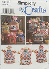 "Simplicity Craft Pattern #9612 Feed Sack Dolls 12"" 15"" 20"" Cow Pig Bunny"