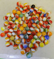 #11588m Vintage Group or Bulk Lot of 100 Mostly Vitro Agate All Red Marbles