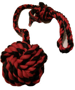 Red Black Long Fetch Throw Tug Chew Strong Tough Durable Rope Ball Dog Toy