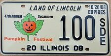 "Illinois 2008 ""Sycamore Pumpkin Festival"" USA Number License Plate American 100"