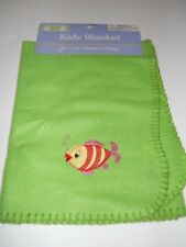 "New Greenbrier Max Gray Green Fleece Fish Kid's Throw Blanket - 30"" x 30"""