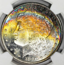 1880-S Morgan Silver Dollar NGC MS63* Star CAC Rainbow Toned
