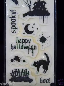 Halloween Stamp Set Boo Spooky Cloud 9 Design 10 Cling Black Stamps NWT