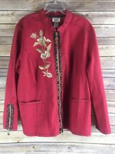 Yi Lin Red Embroidered Floral Oriental Mandarin Chinese Zip Up Jacket Womens 1X