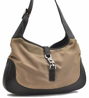 Authentic GUCCI Shoulder Bag GG Nylon Leather Brown Beige A7463