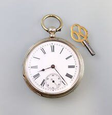 8320001 Schlüssel- Taschenuhr Silber Emaillezifferblatt um 1900