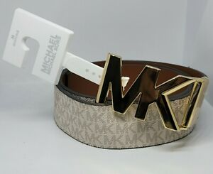 MICHAEL KORS Logo and Leather Reversible MK GOLD Buckle Size M Women's