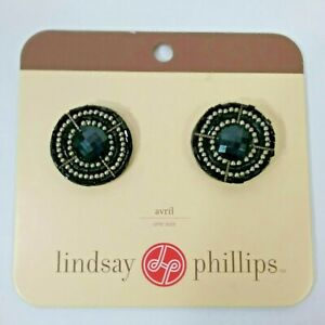 Lindsay Phillips Shoe Snaps Charms Interchangeable Avril Beaded Black Silver