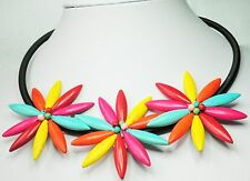 "3 Spikey Stone Multi Colour Flower Necklace, Black Cord 48cm+7cm 19"" and 2"""