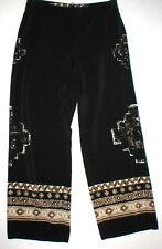 Womens Worth New York $498 8 USA Print Silk Pants Black Brown Wide Ethnic Border