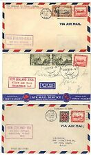 NEW ZEALAND 1937 41 THREE FIRST FLIGHT COVERS TO US VIA HAWAII & AUCKLAND TO SUV