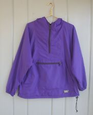 LL Bean Anorak Mens Large Womens XL Purple Half Zip Hooded Windbreaker Jacket