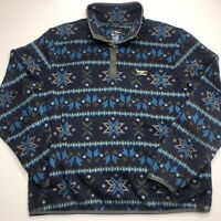 LL Bean Slightly Fitted Snap Fleece Men's Pullover | XL | Winter Theme