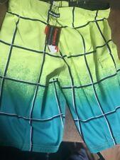 Kawasaki Motors Mens Size S Board Swim Shorts Yellow Green Motorcycle $42