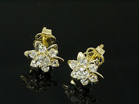 585 Gold Ohrstecker mit 14 Zirkonia Steinen   7,8 mm  1 Paar