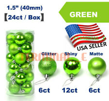 24 CT Shatterproof Christmas Ornament Balls Tree Hanging Wedding Decor GREEN
