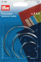 3 x PRYM UPHOLSTERY CURVED HAND SEWING NEEDLES Size No. 2, 4, 5 (131350)