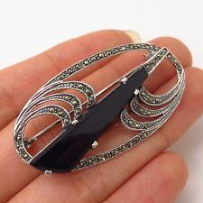 925 Sterling Silver Vintage Black Onyx & Marcasite Gem Art Deco Style Pin Brooch