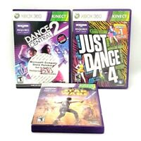 Dance Central 2 Just Dance 4 Microsoft Xbox 360 Kinect 3 Game Lot Tested Good