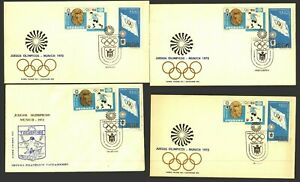 URUGUAY Soccer Football 1924 / 1928 Olympic victory 4 variety FDC covers scarce