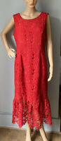 Next Womens Midi Pencil Dress Lace Style Overlay U.K. Size 14 Scarlet Red BNWOT