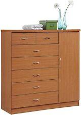 Cherry Finish Wooden 7 Drawer Chest Dresser Clothes Storage Side Door Lockable