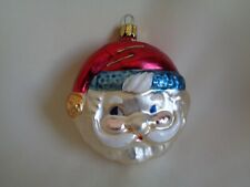 Vintage Glass Double Sided Christmas Ornament Santa Made In Germany