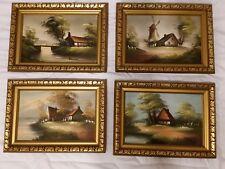 """4x Antique Panel Dutch Farm Landscape Scenes Oil Painting Canvas Framed 11X15"""""""