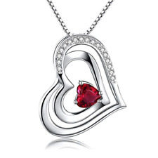 925 Sterling Silver Love Heart Necklace Pendant With Red Cubic Zirconia Stone