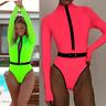 Womens One-piece Long Sleeve Bikini Swimsuit Swimwear Beachwear Bathing Monokini